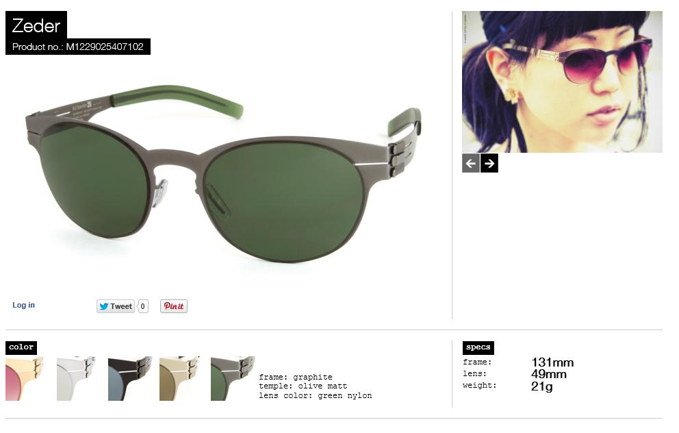 ZEDER  graphite lens green nylon