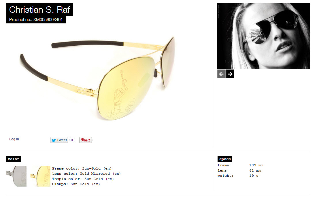 Christian S. Raf sun gold lens gold mirrored